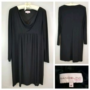 Bandolino 16 Black Long Sleeve Pleated Midi Dress